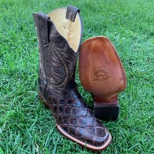 Men's Piraruco Fish Print Boots Handcrafted Brown